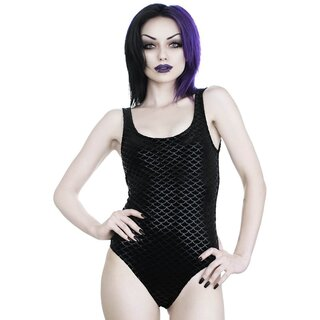 Killstar Samt Bodysuit - Black Sea