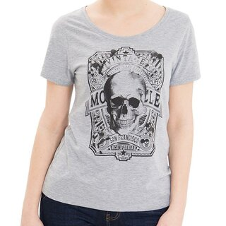 Queen Kerosin T-Shirt - Skull Vintage Light Grey