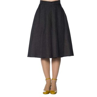 Banned Retro Circle Skirt - Secretary Flare Grey