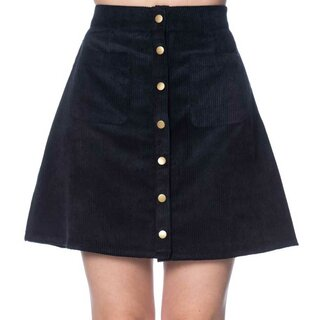 Banned Retro Cord Mini Skirt - Erica Navy