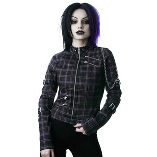 Killstar Denim Biker Jacket - Roz Tartan