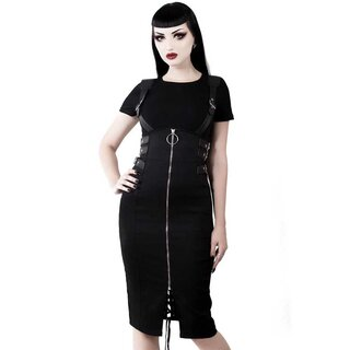 Killstar Pencil Skirt with Suspenders - Tempest Black