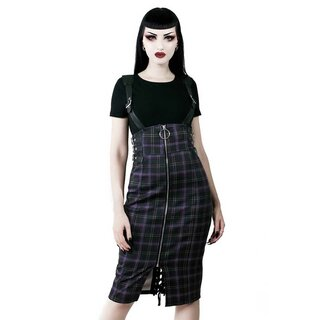 Killstar Pencil Skirt with Suspenders - Tempest Tartan