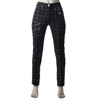 Killstar Jeans Hose - Mazzy Lace-Up Tartan