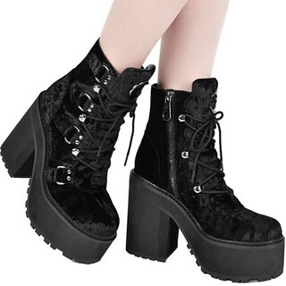 Killstar Platform Boots - Broom Rider Velvet