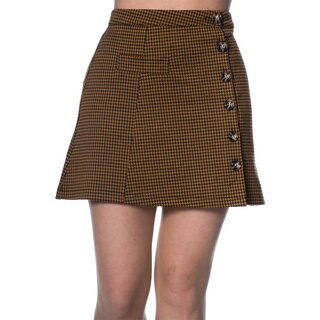 Banned Retro Mini Skirt - Bella Houndstooth Ochre