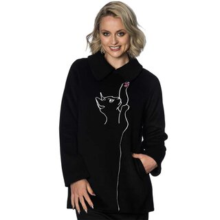 Banned Retro Vintage Coat - Cat Black