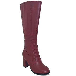Banned Retro Vintage High Boots - Roscoe Burgundy