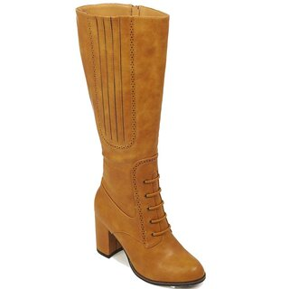 Banned Retro Vintage High Boots - Roscoe Ochre