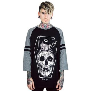 Killstar 3/4-Sleeve Raglan T-Shirt - Fly High