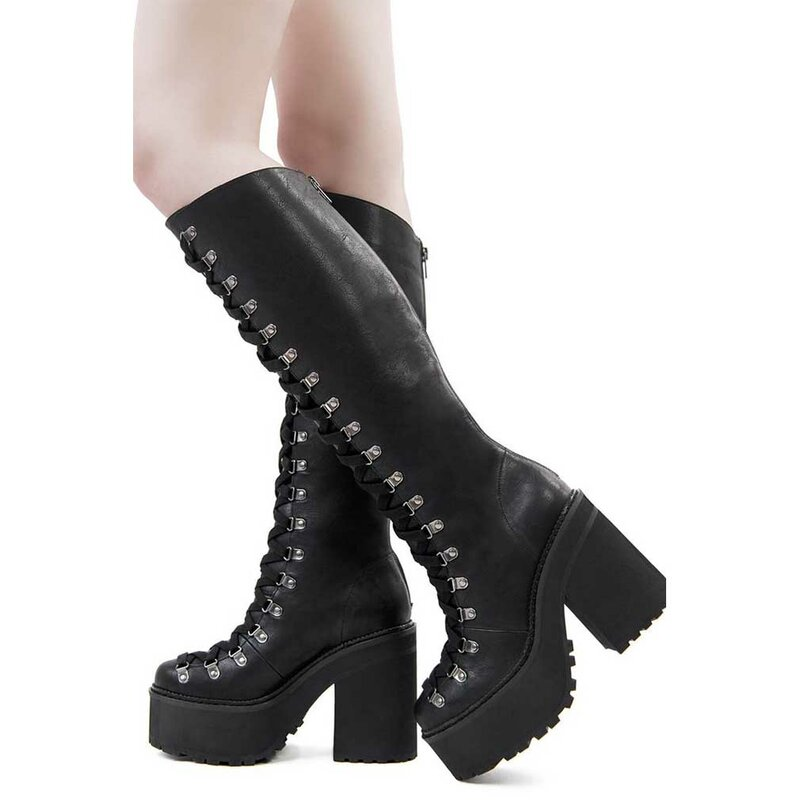 Bloodletting Knee Killstar Plateaustiefel High Boots rxeCodBW