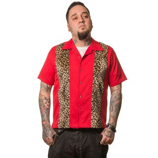 Steady Clothing Vintage Bowling Shirt - Leopard Panel Red