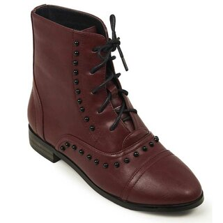 Banned Retro Boots - Magic Carpet Ride Burgundy