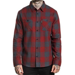 Sullen Clothing Flannel Shirt - Checks Red-Grey