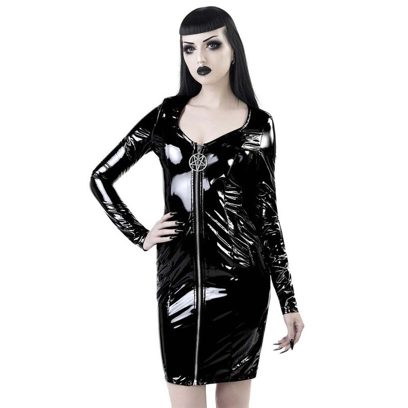 Killstar Patent Leather Bodycon Dress - Underworld