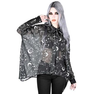 Killstar Star Print Chiffon Blouse - Milky Way
