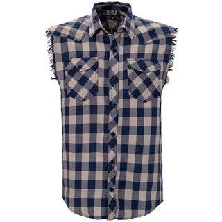 King Kerosin Sleeveless Flannel Shirt - Faster & Louder Blue