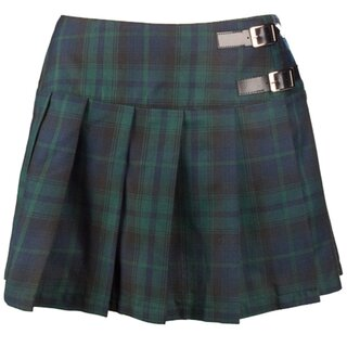 Black Pistol Pleated Mini Skirt - Buckle Mini Tartan Green