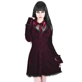 Killstar Velvet Mini Dress - Dead Silent Wine Red
