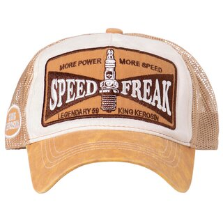 King Kerosin Trucker Cap - Speed Freak Braun-Weiß