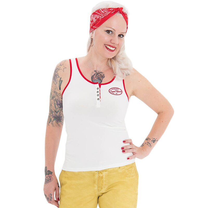 Queen Kerosin Damen Tank Top - Speedway Off-White M