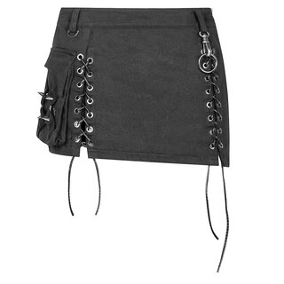 Punk Rave Denim Mini Skirt - Gothic Trooper