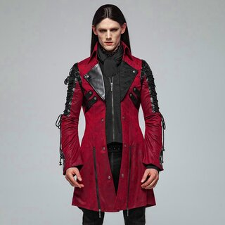 Punk Rave Gents Coat - Poisonblack Red