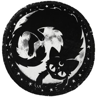 Killstar round Fleece Blanket - Moon Kitty