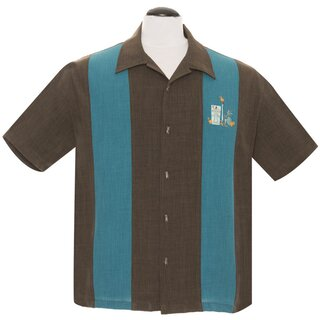 Steady Clothing Vintage Bowling Shirt - The Mickey Brown