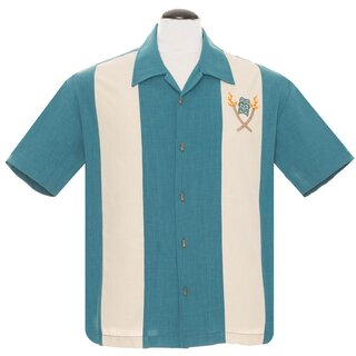 Steady Clothing Vintage Bowling Shirt - Tropical Itch Türkis