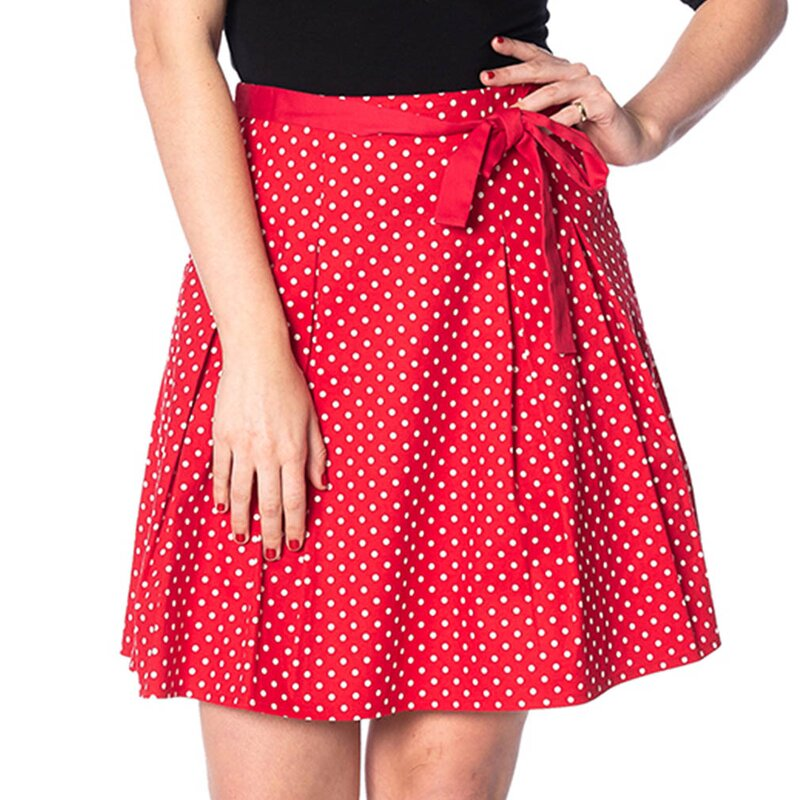 Banned Gonna a righe retrò - Polka Dots Red