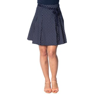 Banned Retro A-Line Skirt - Polka Dots Navy