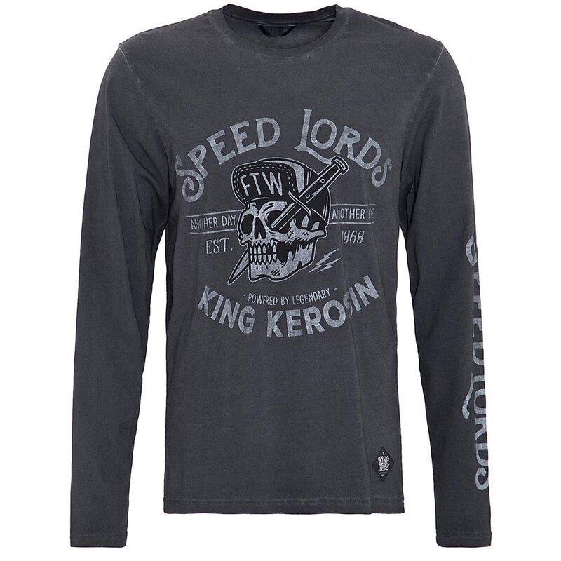 King Kerosin Langarm T-Shirt - Speed Lords Grau XL