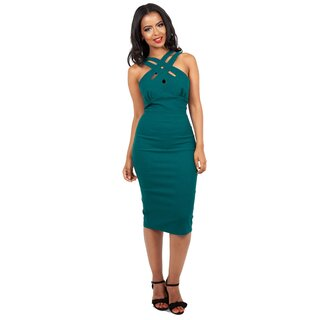 Voodoo Vixen Pencil Dress - Lillian Turquoise