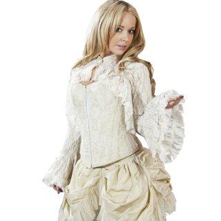 Burleska Vintage Steampunk Gothic Victorian Bluse Top Rosetta Spitze Creme