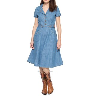 Queen Kerosin Denim Kleid - Blanko