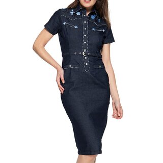 Queen Kerosin Denim Pencil Dress - Dark Western