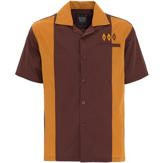 King Kerosin Bowling Shirt - 50s Diamonds Brown