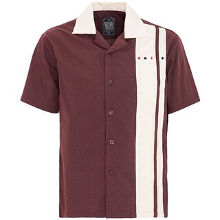 King Kerosin Bowling Shirt - Poker Bordeaux