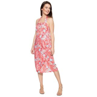 Queen Kerosin Neckholder Dress - Tropical Rosé