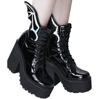 Killstar Gloss Platform Boots - Rave to the Grave