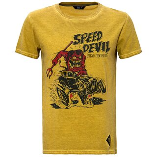 King Kerosin Dirtywash T-Shirt - Speed Devil Gelb
