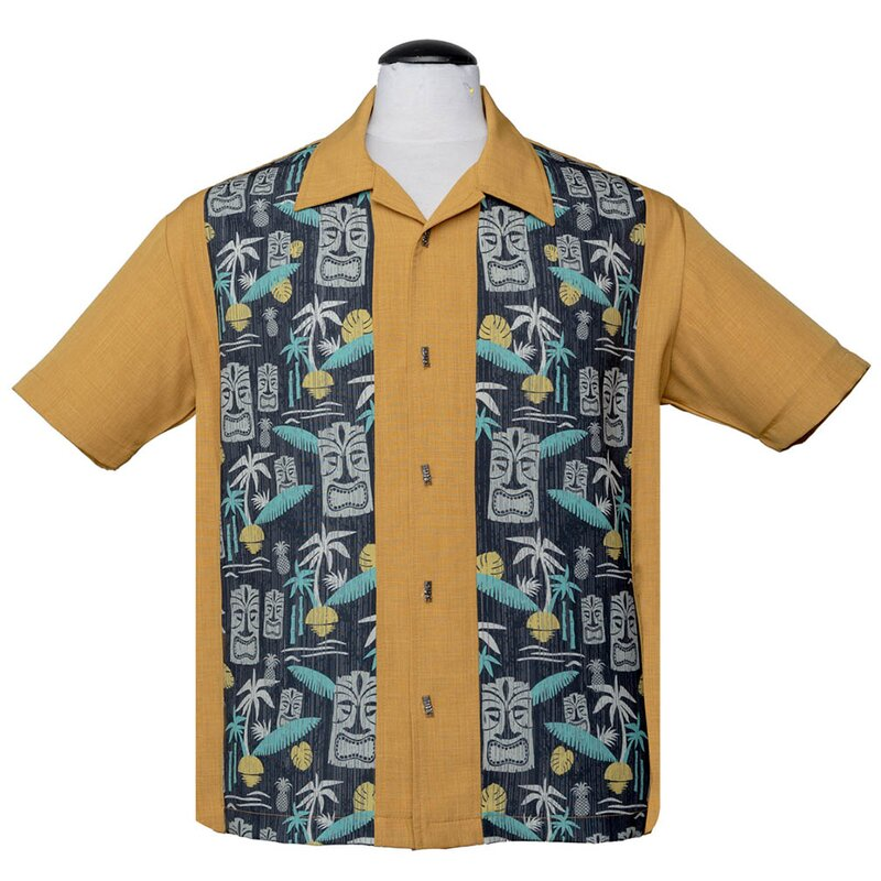 Steady Clothing Vintage Bowling Shirt - Tiki In Paradise Senfgelb M