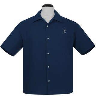 Steady Clothing Vintage Bowling Shirt - Martini Navy