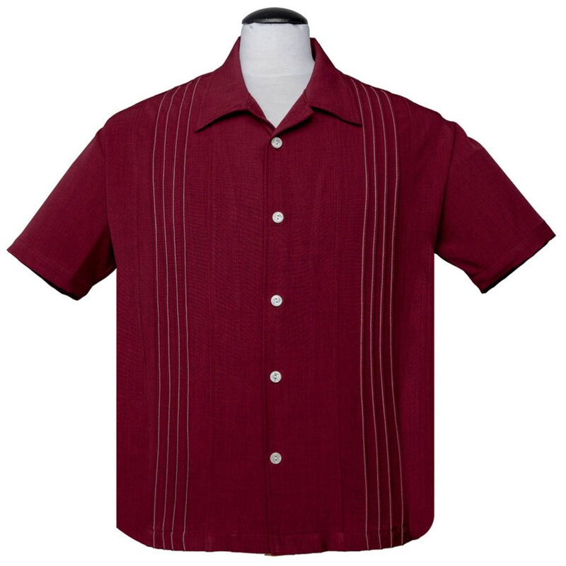 Steady Clothing Vintage Bowling Shirt - The Otis Dunkelrot L