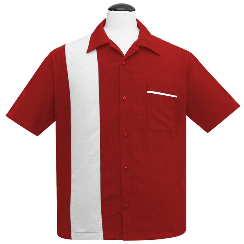 Steady Clothing Vintage Bowling Shirt - PopCheck Single Rot S