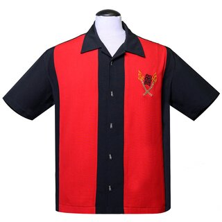 Steady Clothing Vintage Bowling Shirt - Tropical Itch Red