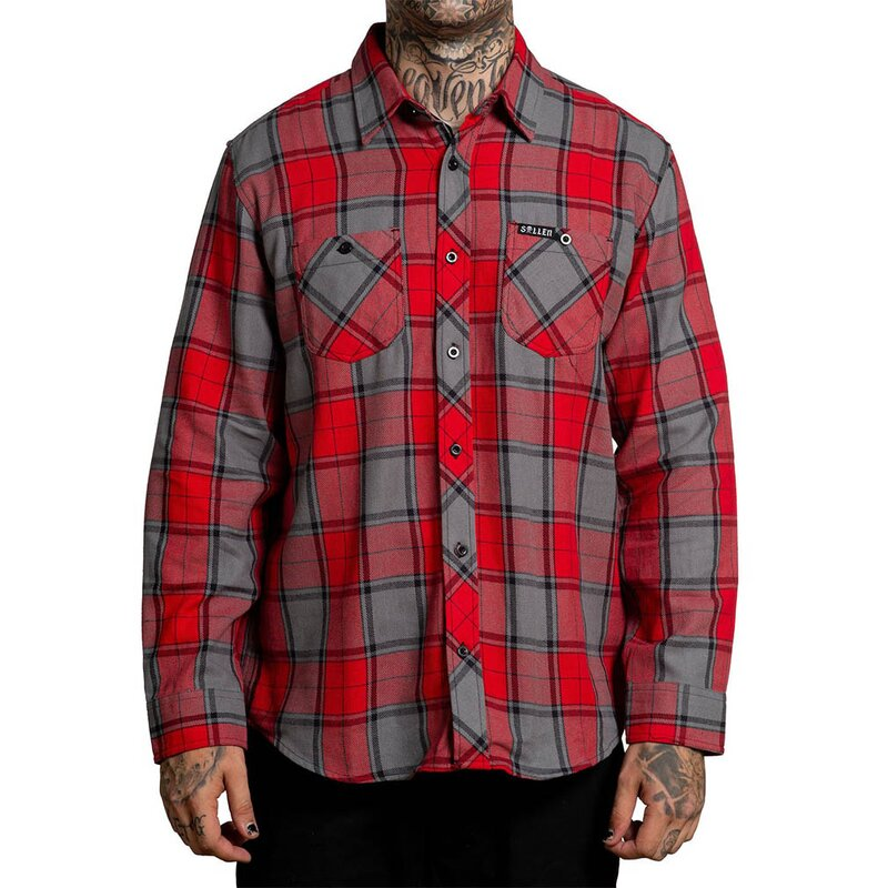 Sullen Clothing Flanellhemd - San Clemente Rot-Grau