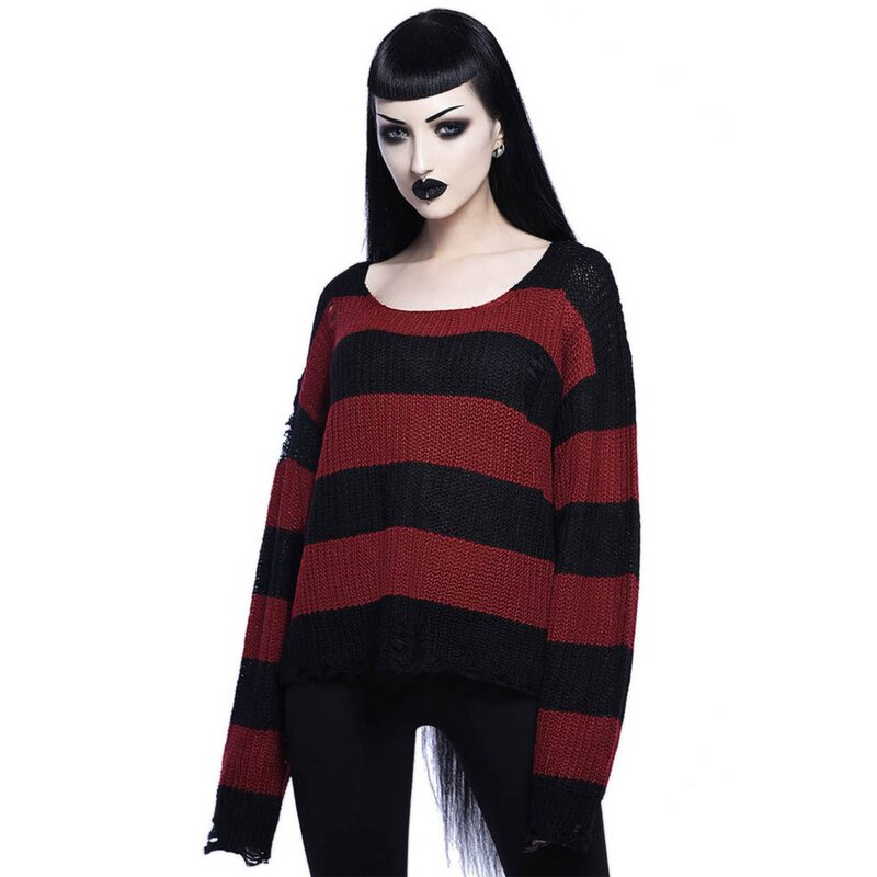 Killstar Knitted Sweater - Casey Blood Red