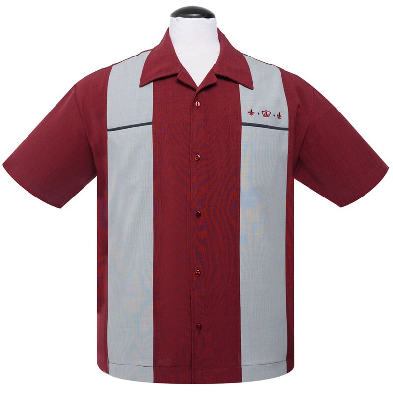 Steady Clothing Vintage Bowling Shirt - The Regal Burgunder XS
